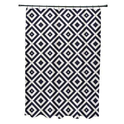 Subline Geometric Shower Curtain Color: Navy Blue/Ivory