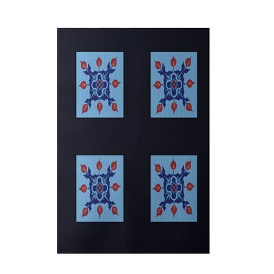 Geometric Navy Blue Indoor/Outdoor Area Rug Rug Size: 5 x 7
