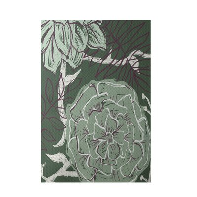Decorative Floral Green Area Rug Rug Size: 5 x 7