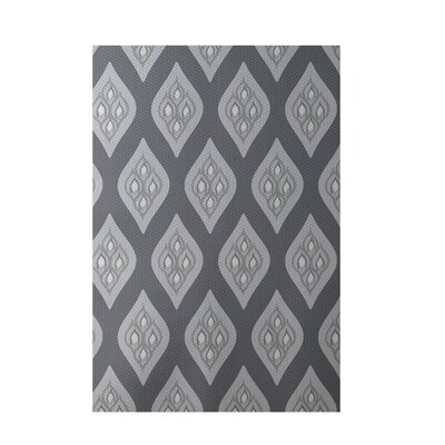 Floral Dark Gray Indoor/Outdoor Area Rug Rug Size: 5 x 7