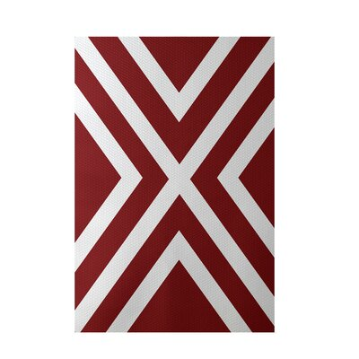 Stripe Red Indoor/Outdoor Area Rug Rug Size: 5 x 7