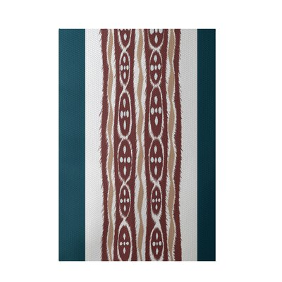 Stripe Rust Indoor/Outdoor Area Rug Rug Size: 5 x 7