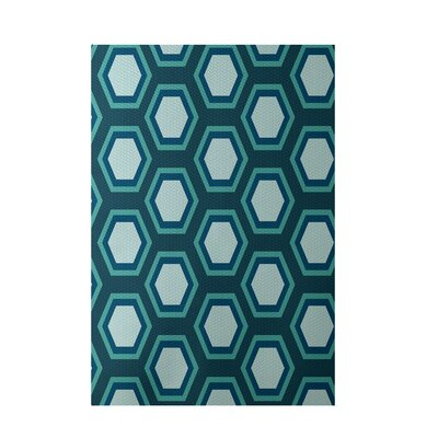 Geometric Teal Indoor/Outdoor Area Rug Rug Size: 3 x 5