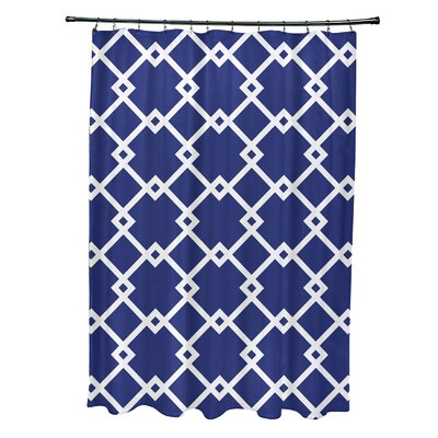 Subline Geometric Shower Curtain Color: Royal Blue