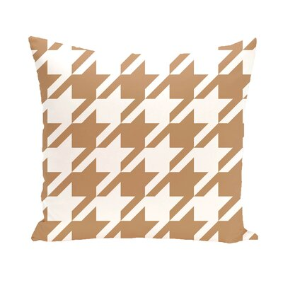 Houndstooth Geometric Print Outdoor Throw Pillow Color: Caramel, Size: 18 x 18