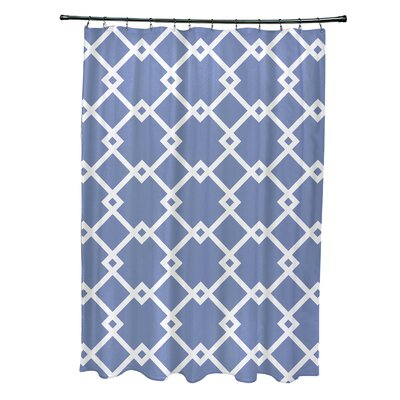 Subline Geometric Shower Curtain Color: Light Blue
