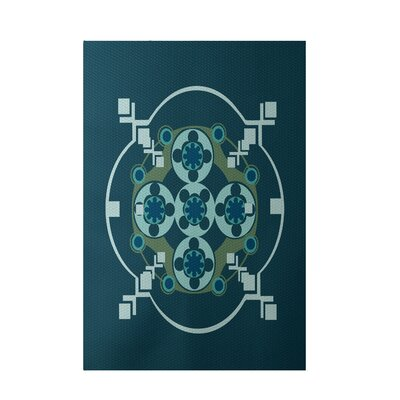 Teal  Indoor/Outdoor Area Rug Rug Size: 4 x 6