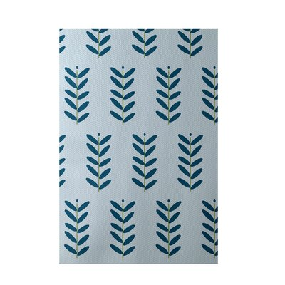 Floral Light Blue Indoor/Outdoor Area Rug Rug Size: 5 x 7