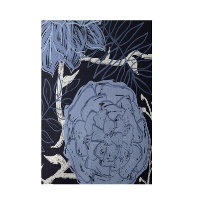 Floral Navy Blue Indoor/Outdoor Area Rug Rug Size: 3 x 5