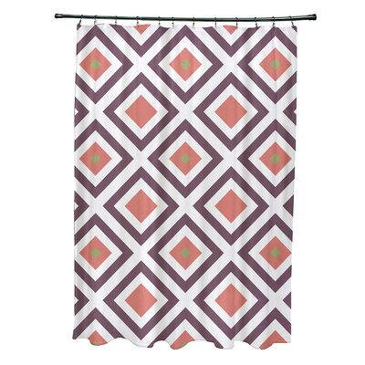 Subline Geometric Shower Curtain Color: Purple/Coral