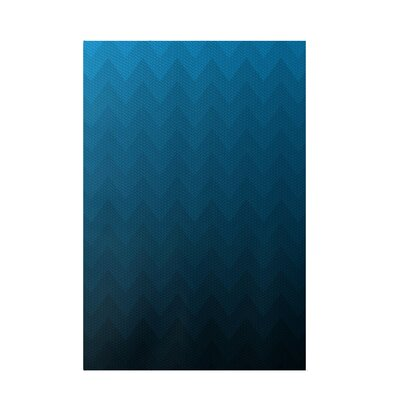 Chevron Blue Indoor/Outdoor Area Rug Rug Size: 5 x 7