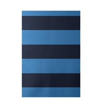 E By Design Decorative Stripe Blue Area Rug - Rug Size: 3' x 5'