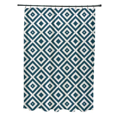 Subline Geometric Shower Curtain Color: Teal/Ivory