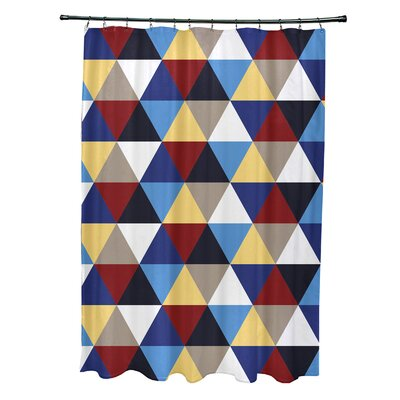 Subline Geometric Shower Curtain Color: Beige/Blue