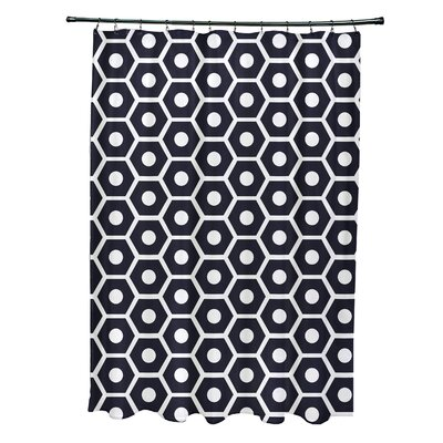 Subline Geometric Shower Curtain Color: Navy Blue