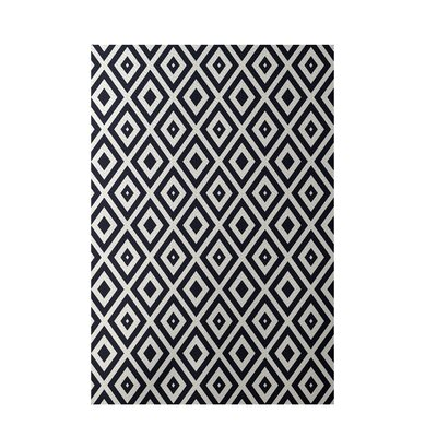 Geometric Navy Blue Indoor/Outdoor Area Rug Rug Size: 5' x 7'