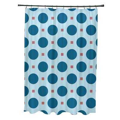 Flower Power Geometric Shower Curtain Color: Teal/Coral