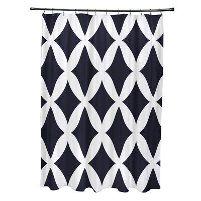Subline Geometric Shower Curtain Color: Navy Blue