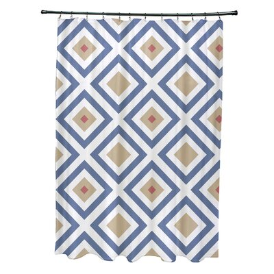 Subline Geometric Shower Curtain Color: Blue/Taupe