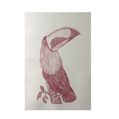 Bird Print Off White Indoor/Outdoor Area Rug Rug Size: Rectangle 2' x 3'