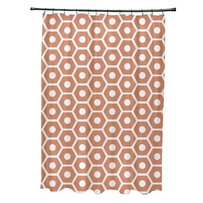 Subline Geometric Shower Curtain Color: Orange