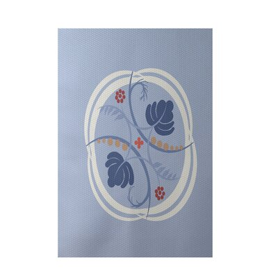 Floral Light Blue Indoor/Outdoor Area Rug Rug Size: Rectangle 2' x 3'