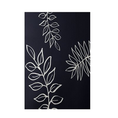 Floral Navy Indoor/Outdoor Area Rug Rug Size: 3 x 5