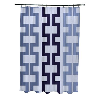 Subline Geometric Shower Curtain Color: Blue/Navy Blue