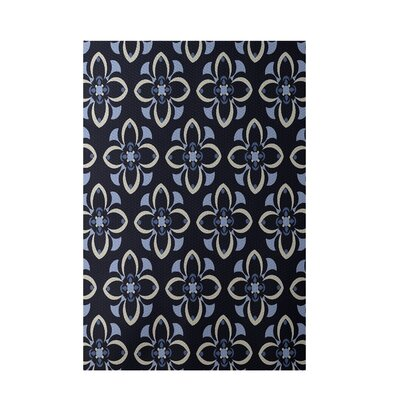 Floral Navy Blue Indoor/Outdoor Area Rug Rug Size: 5 x 7