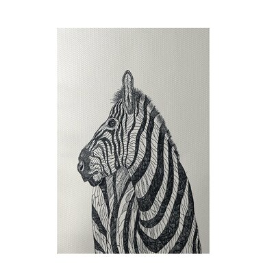 Zebra Print Off White Indoor/Outdoor Area Rug Rug Size: 4 x 6