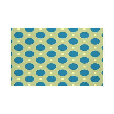 Dot Dash Geometric Print Throw Blanket Size: 60 L x 50 W, Color: Apple (Green/Teal)