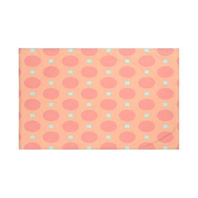 Dot Dash Geometric Print Throw Blanket Size: 60 L x 50 W, Color: Burnt (Coral/Aqua)