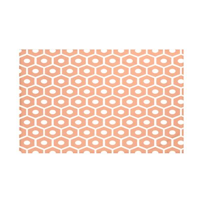 Honeycomb Pop Geometric Print Throw Blanket Size: 60 L x 50 W, Color: Bloom (Orange)