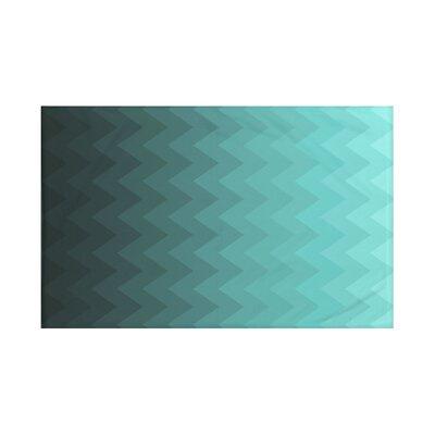 Depth Perception Chevron Print Throw Blanket Size: 60 L x 50 W, Color: Jade (Aqua)