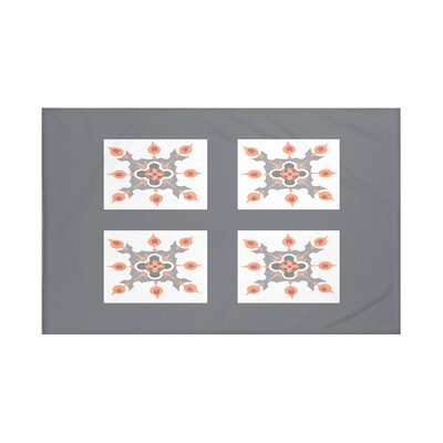 Four Square Geometric Print Throw Blanket Size: 60 L x 50 W, Color: Steel Gray (Dark Gray/Light Gray)
