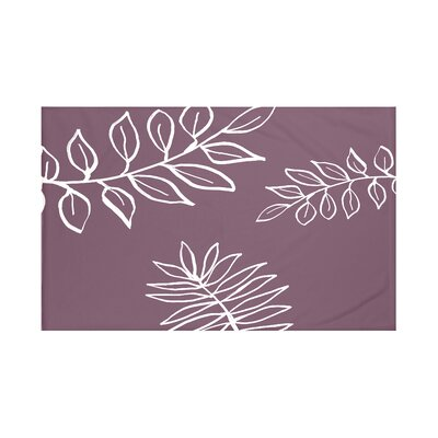 My Best Frond Floral Print Throw Blanket Size: 60 L x 50 W, Color: Bordeaux (Purple/Off White)