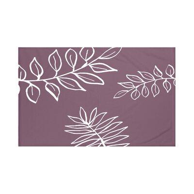 "My Best Frond Floral Print Throw Blanket Size: 60"" L x 50"" W, Color: Bordeaux (Purple/Off White)"