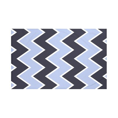 Inside The Lines Chevron Print Throw Blanket Size: 60 L x 50 W, Color: Peri (Navy Blue)