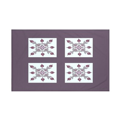 Four Square Geometric Print Throw Blanket Size: 60 L x 50 W, Color: Mulberry (Purple/Light Gray)