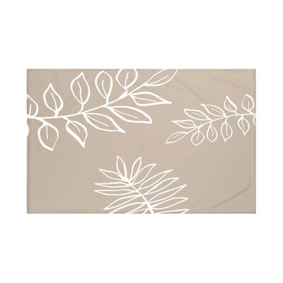 My Best Frond Floral Print Throw Blanket Size: 60 L x 50 W, Color: Flax (Taupe/Off White)