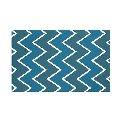 Inside The Lines Chevron Print Throw Blanket Size: 60 L x 50 W, Color: Teal