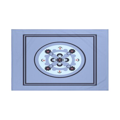 "Kaleidoscope Geometric Print Throw Blanket Size: 60"" L x 50"" W, Color: Cornflower (Light Blue/Navy Blue)"