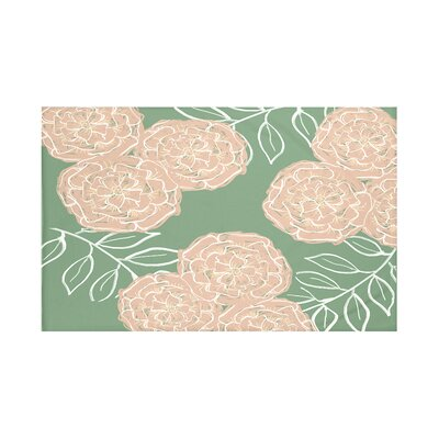 Mums The Word Floral Print Throw Blanket Size: 60 L x 50 W, Color: Succulent (Green/Taupe)