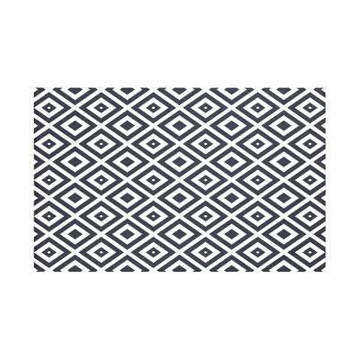 "Diamond Mayhem Geometric Print Throw Blanket Size: 60"" L x 50"" W, Color: Bewitching (Navy Blue/Off White)"
