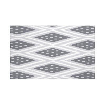"Ikat Diamond Dot Geometric Print Throw Blanket Size: 60"" L x 50"" W, Color: Steel (Gray/Dark Gray)"