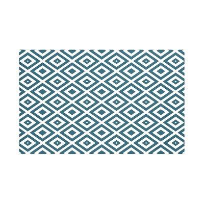 "Diamond Mayhem Geometric Print Throw Blanket Size: 60"" L x 50"" W, Color: Deep Sea (Teal/Off White)"