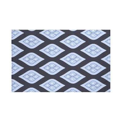 Tail Feathers Geometric Print Throw Blanket Size: 60 L x 50 W, Color: Peri (Navy Blue/Blue)