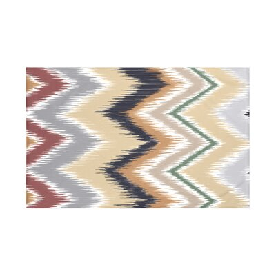 Ikat-arina Chevron Print Throw Blanket Size: 60 L x 50 W, Color: Khaki (Navy Blue/Taupe)