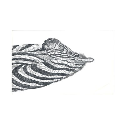La Cebra Safari Print Throw Blanket Size: 60 L x 50 W, Color: Ivory (Off White/Black)