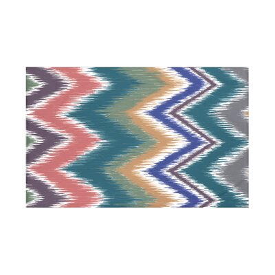 Ikat-arina Chevron Print Throw Blanket Size: 60 L x 50 W, Color: Blue Coral (Teal/Brown)